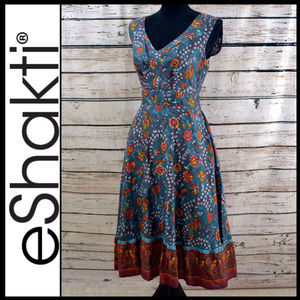 WORN ONCE Indian Print Hourglass Silk dress